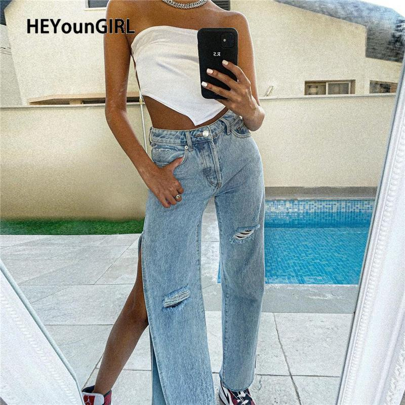 HEYounGIRL Casual Split Sexy Denim Pantaloni Blu Donna vita alta jeans lungo pantaloni tasca di modo Streetwear Pantaloni a sigaretta 2020
