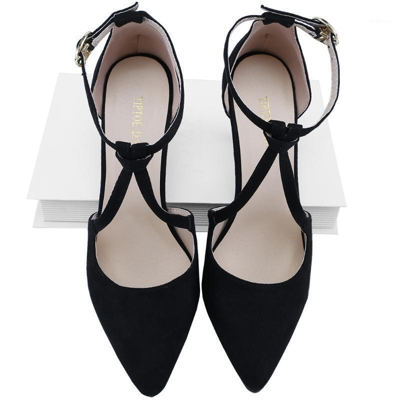 LOSLANDIFEN Women's 9cm Velvet Pointed Toe High Heels Ankle Strap Thick Heel Gladiator Pumps Party Wedding Dress Women Shoes1