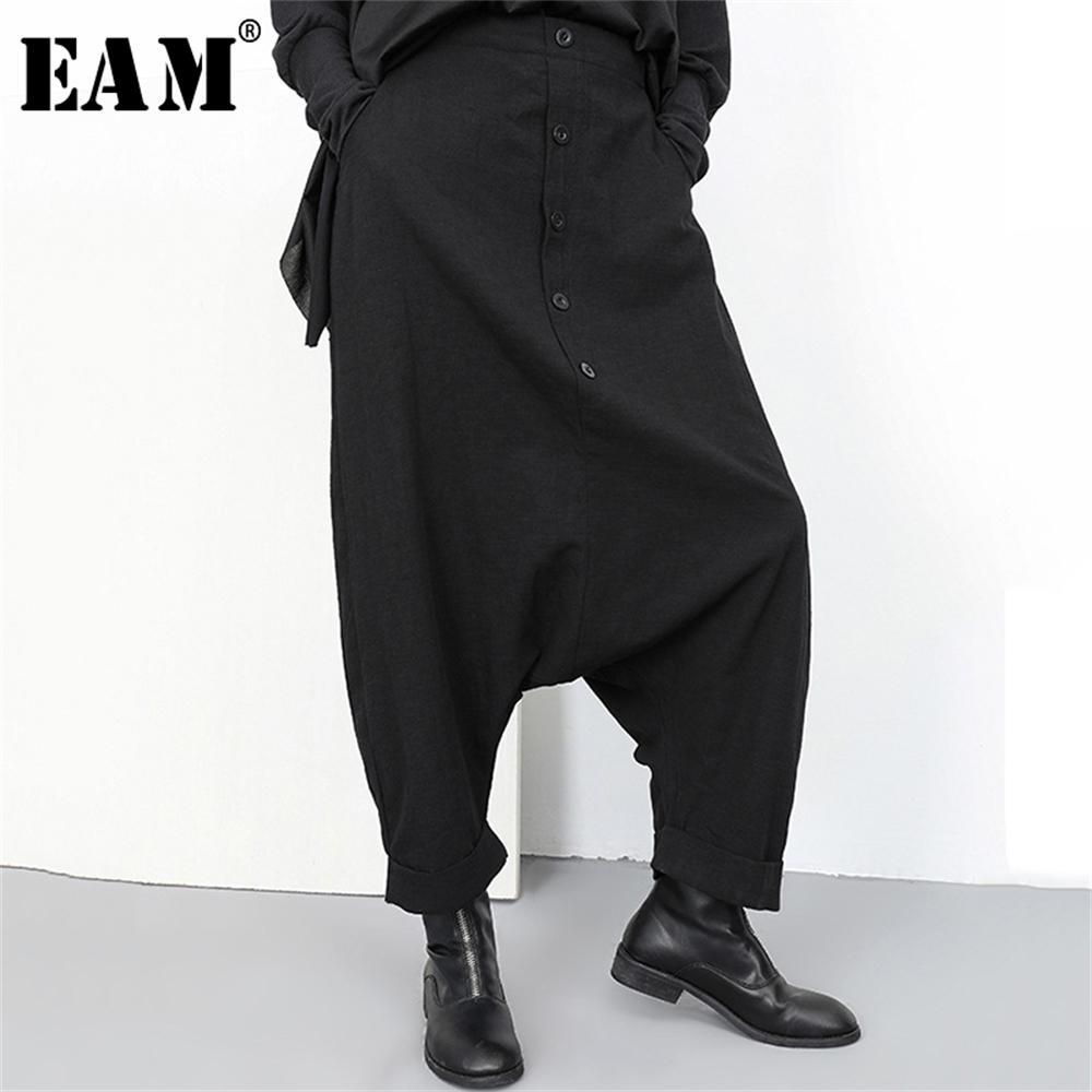 [Eam] 2020 Nuova primavera Autunno Alta Elastico Elastico Black Button Split Joint Gamba larga Pantaloni lunghi Pantaloni da donna Pantaloni Donne Fashion LJ200819