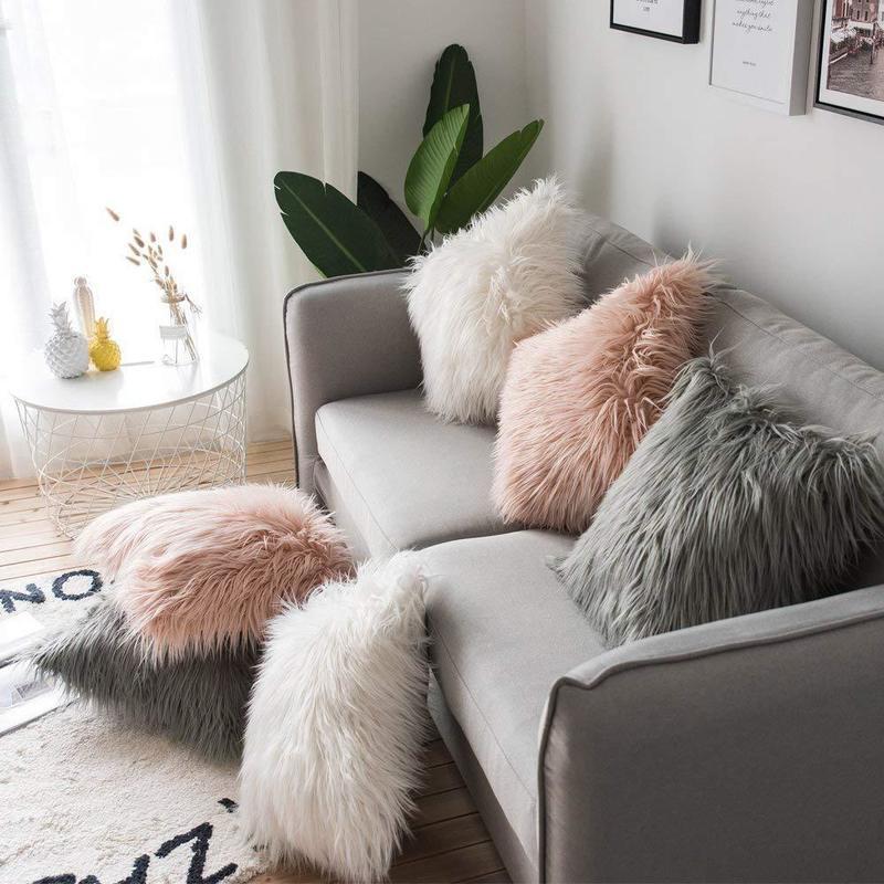 1 adet Katı Renk Peluş Yastık Yastık Kapak Tek Taraf Faux Kürk Dekoratif Yastık Kılıfı Kare Peluş Home For Koltuk Dekor atın