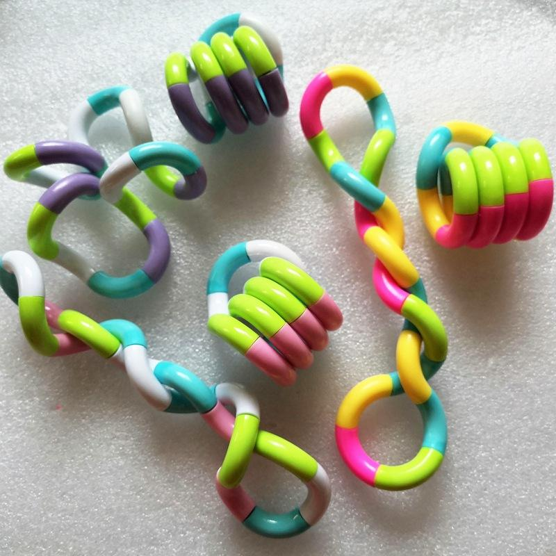 Hot Selling Rainbow ring twister Toy New decompression toys winding variety decompression toys twist ring 18 Knots/Pack