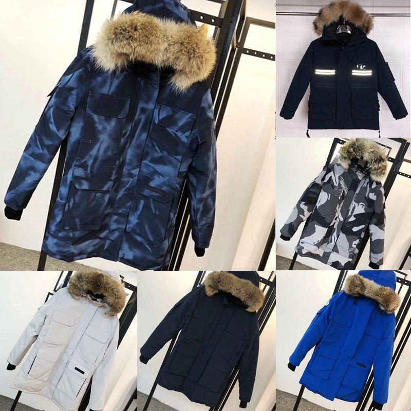 2021 Yeni Yüksek Kalite Aşağı Ceket Erkek Aşağı Ceket Kadınlar Kış Ördek Tasarımcıları Su Geçirmez Sıcak Kürk Kirpi Mont Rüzgarlık Giysileri 70g0 #