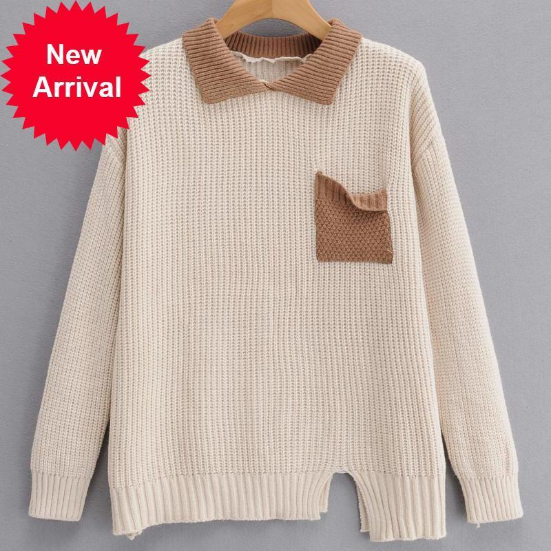 2021 New Autumn Lapels Knit Sweater Casual Wear Long Sleeve Designer 1umt