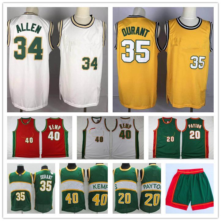 Vintage Gary 20 Payton Shawn 40 Kemp Kevin 35 Durant Ray 20 Allen SeattleSupersônica.Sonics verdesJerseys de basquete amarelo.