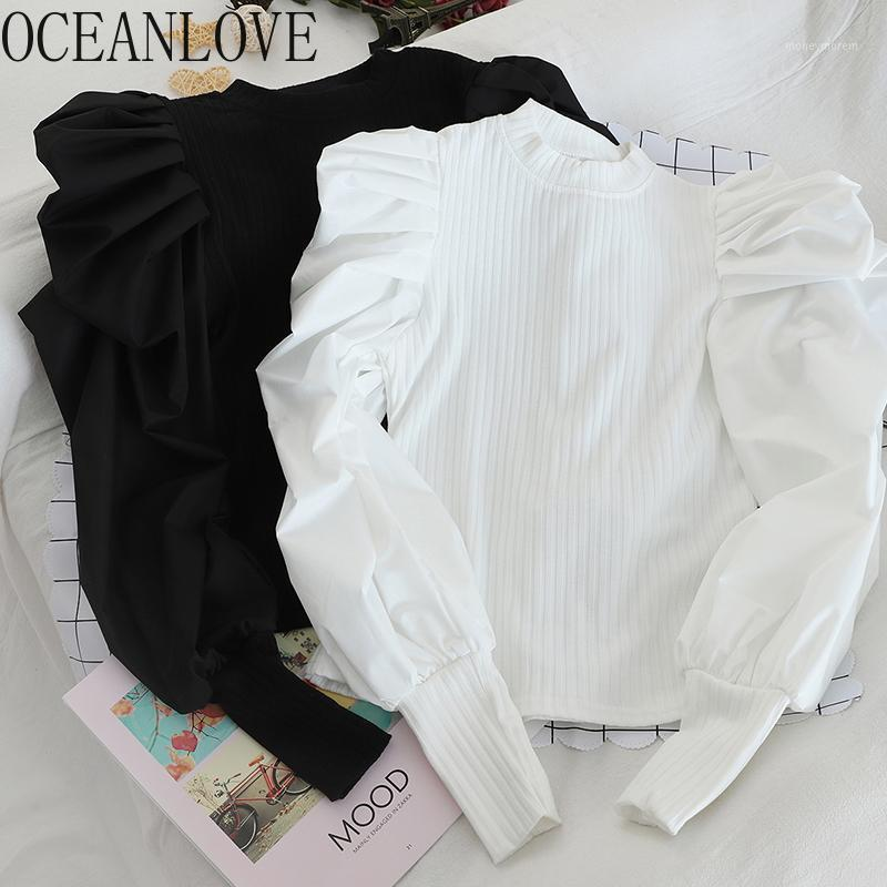 Oceanlove Sleeve Sleeve Womne Sweaters Solide Patchwork Mode Pullovers 2019 Fake Deux Morceaux Pull Femme Slim Dowies Tops 134591