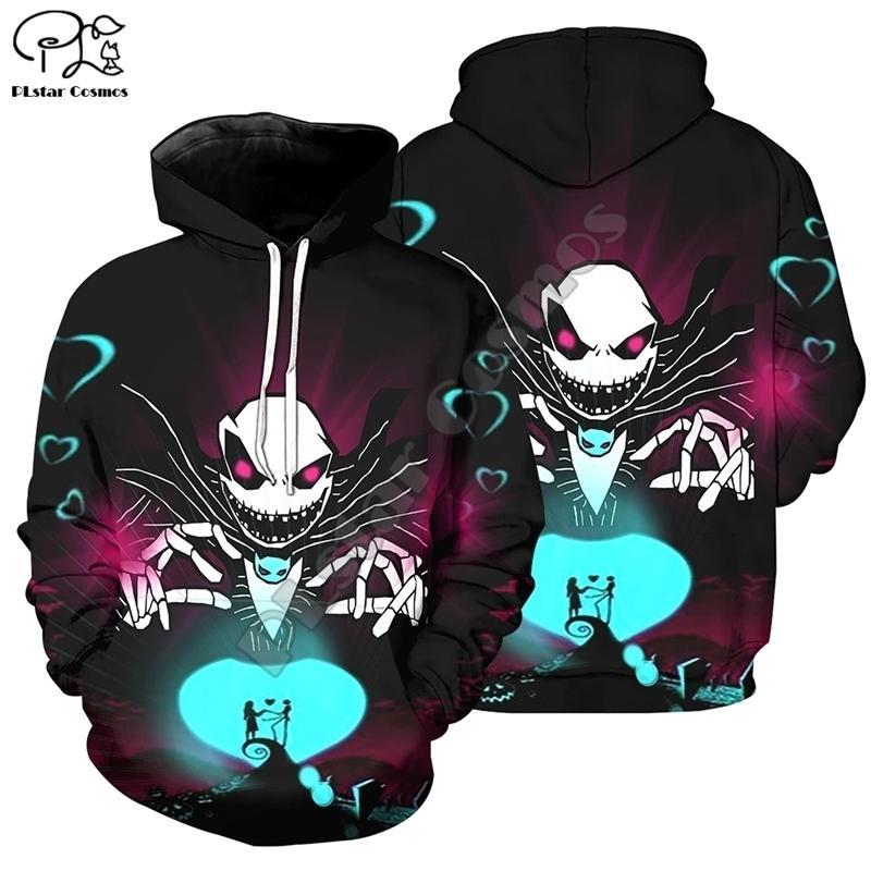 Halloween Nightmare перед Рождеством Джек Скеллингтон ужас 3D печатные мужчины / женские толстовки смешные пуловер Harajuku куртка A-1 Y201006