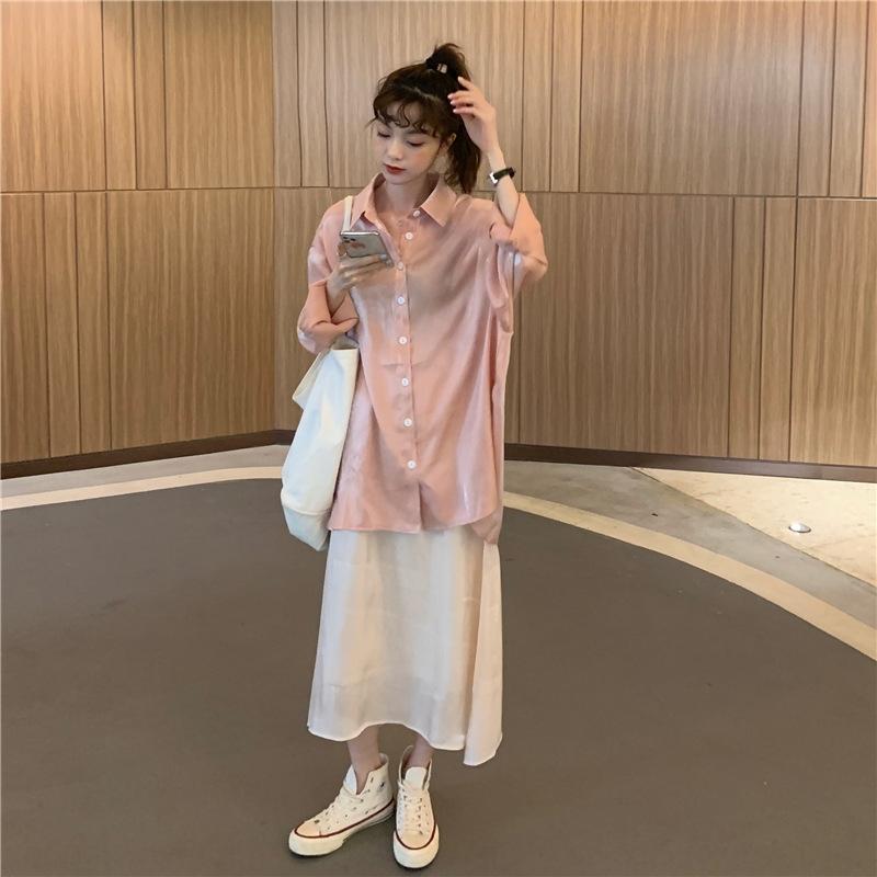 c6Jzq sun shirt summer lustre long sleeve Ruifan's proof sparkle Short new Shirt shirtskirt skirt suit MY1Ww