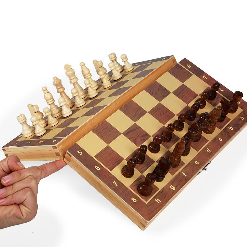 Large Chess Board Magnetic Wooden Folding Chesses Set with Felted Game Boards Interior for Storage Adult Kids Beginner