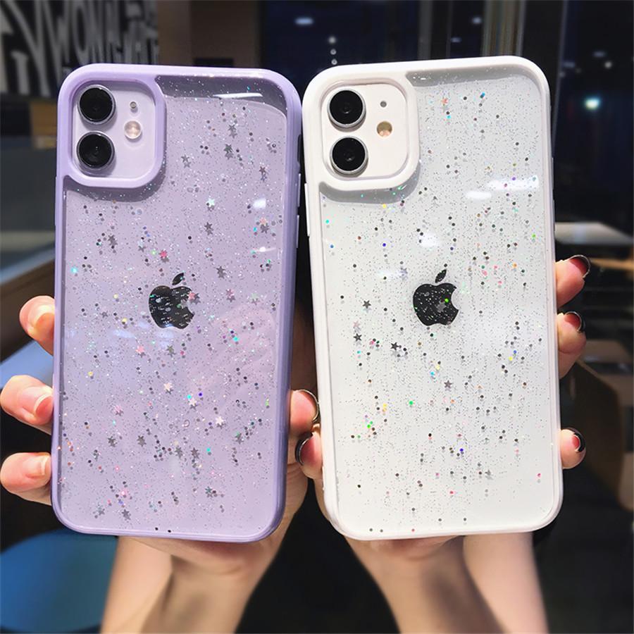 Glitter Star Sequins Bling Fashion Designers Cas pour Coque Iphone 12 Pro Max Téléphone Couverture 11 Mini XS XR x 7 8 Plus