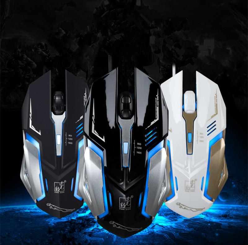 K1 usb silent mute wired photoelectric luminous lol game Internet cafe steel mouse mice dhl free