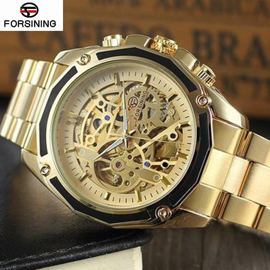 Forsining Новая коллекция прозрачный корпус Золотой нержавеющей стали Автоматическая Luxury Design Мужчины Top Brand Skeleton Watch