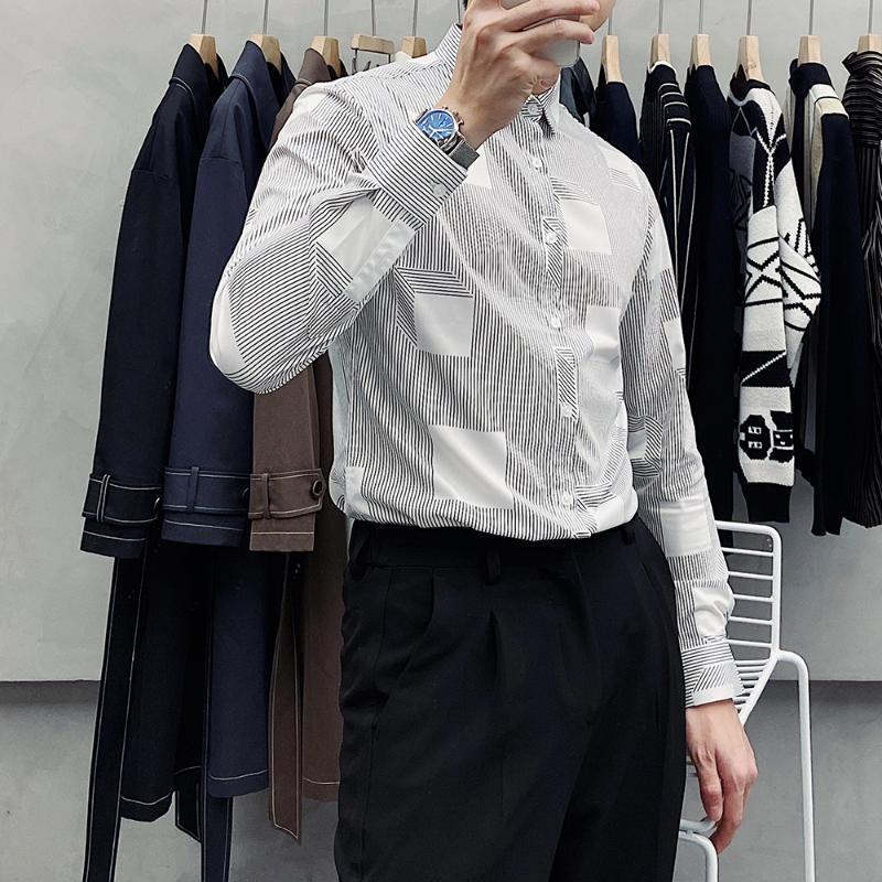 High-end Çizgili Gömlek erkek 2021 Sonbahar Yeni Eğilim Demir Demir Kırışıklık Karşıtı Rahat Yakışıklı Gömlek Ince Kore Versiyonu