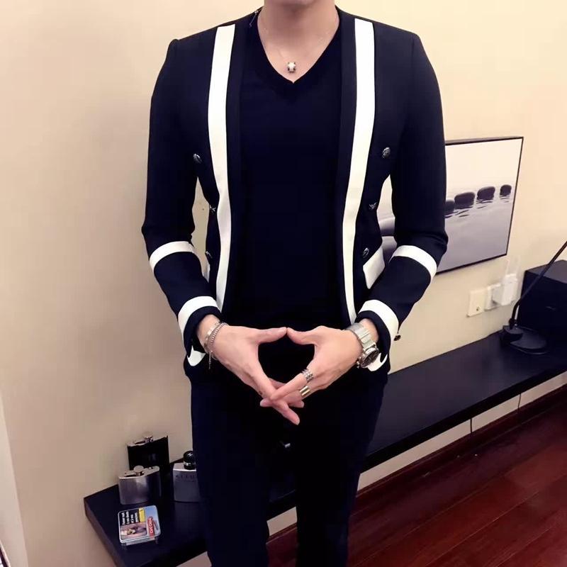 Vestito casuale degli uomini di modo Blazers Para Hombre Four Seasons New Autunno stile coreano a righe Plaid Slim-fit Nightclub Suit Coat 201104