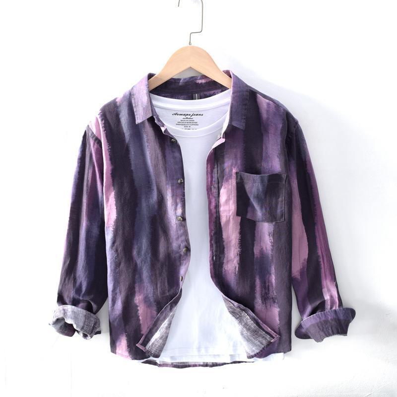 100% льняные рубашки мужские с длинным рукавом Slim Fit Мода полосатые рубашки Мужчины Общество Бизнес Рубашки Мужской Камиза сорочка TS-551