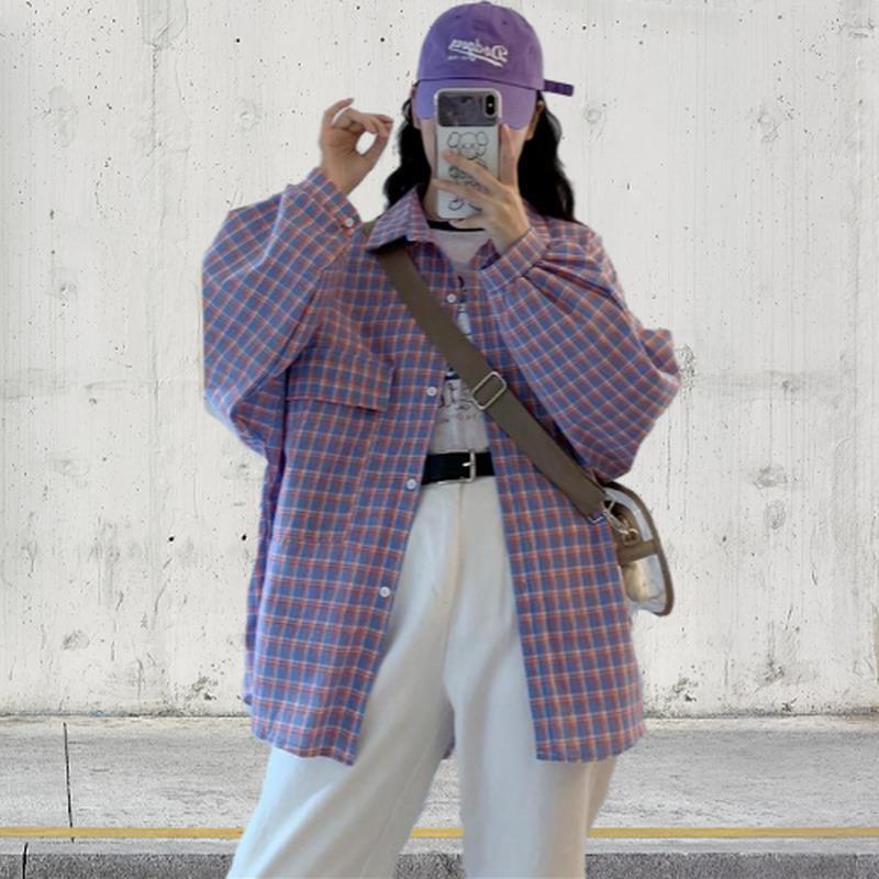 Deepown Ekose Gömlek Sonbahar Moda 2020 Uzun Kollu Kafes Baskı Kadın Gömlek Kore Tarzı Gevşek Günlük Tüm Maç Giyim Q0112