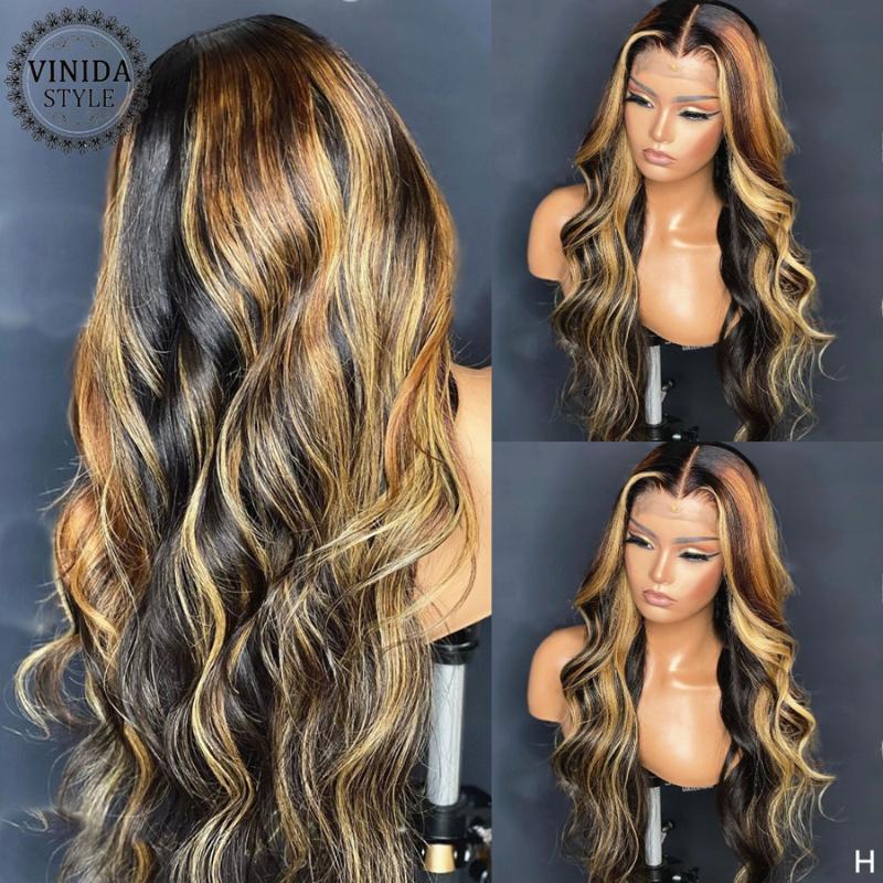 Vinida estilo resaltado onda t-pieza de encaje frente cabello humano pelucas cuero cabelludo top pelucas de cierre con cabello bebé 150% densidad no remy