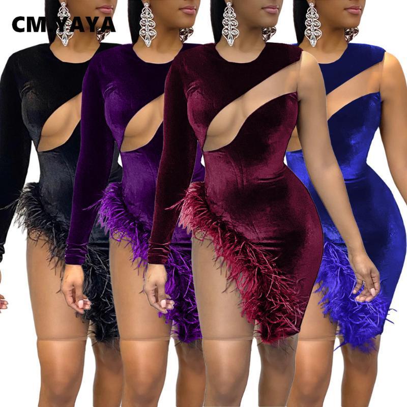 Cm.yaya kadınlar kadife örgü bkz. Patchwork tüy yan bir kollu bodycon midi elbise seksi kulübü parti kalem mini elbiseler