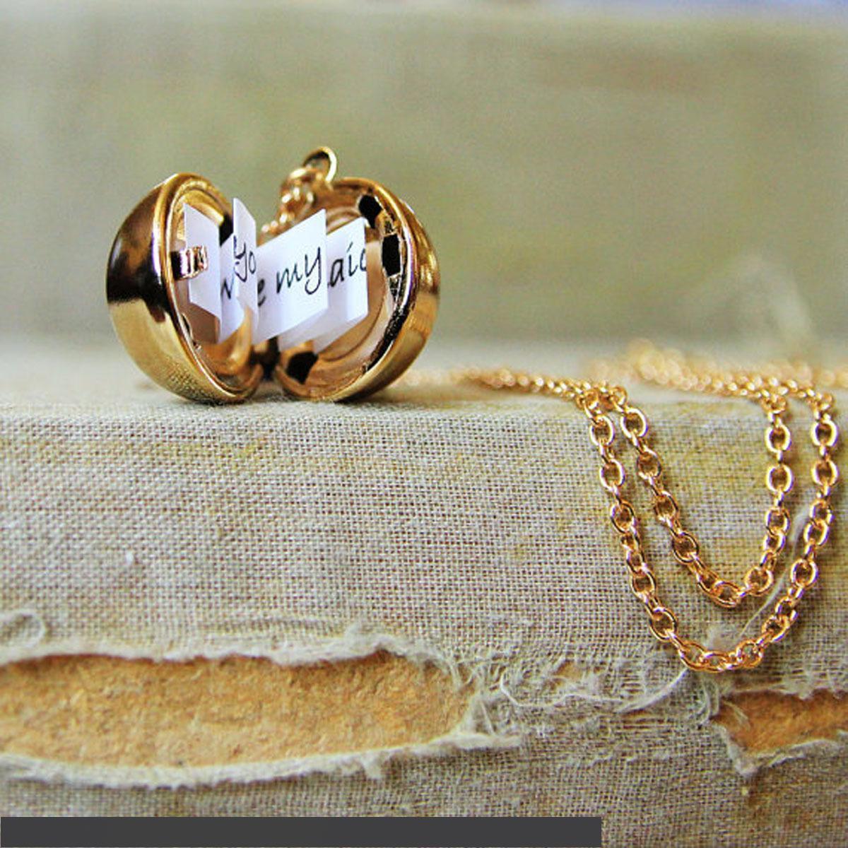 Lady Secret Message Ball Locket Silver Gold Pendant Necklace Jewelry Charm Vintage Make A Love Confession Necklace Birthday Gift