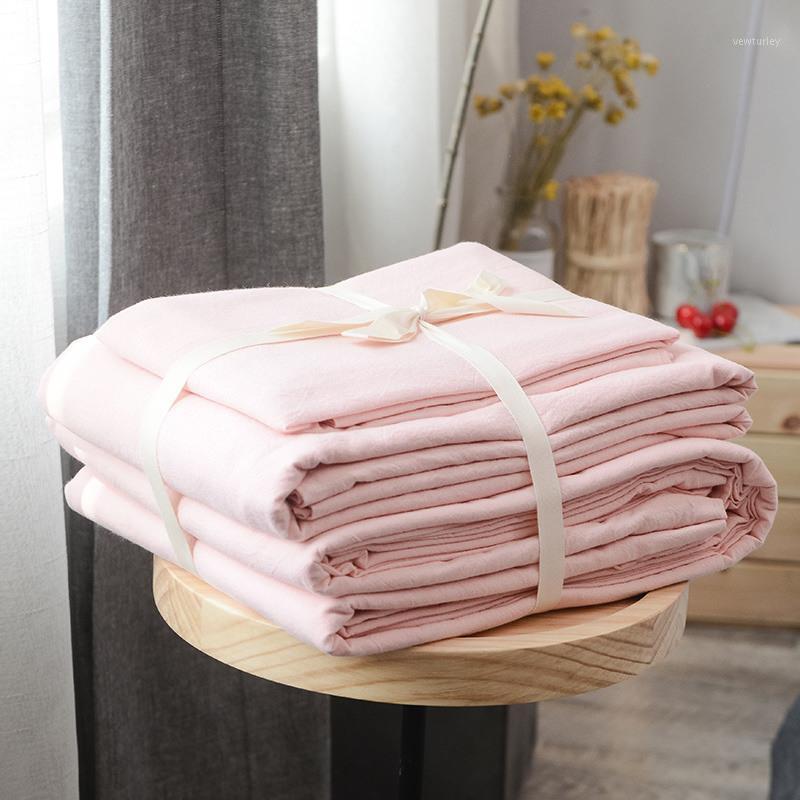 45 100% coton lavage coton 3 / 4pcs de literie (couverture de couette + feuille plate + taie d'oreiller) osyter solide couleur1