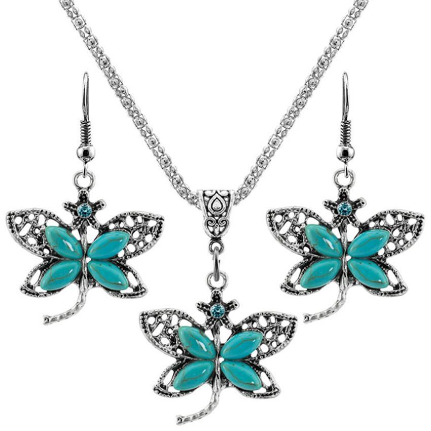 10 Set Anhänger Halskette Tropfen Ohrringe Schmetterling und Libelle Form Grüner Türkis Stein Silber Überzogene Schmuck