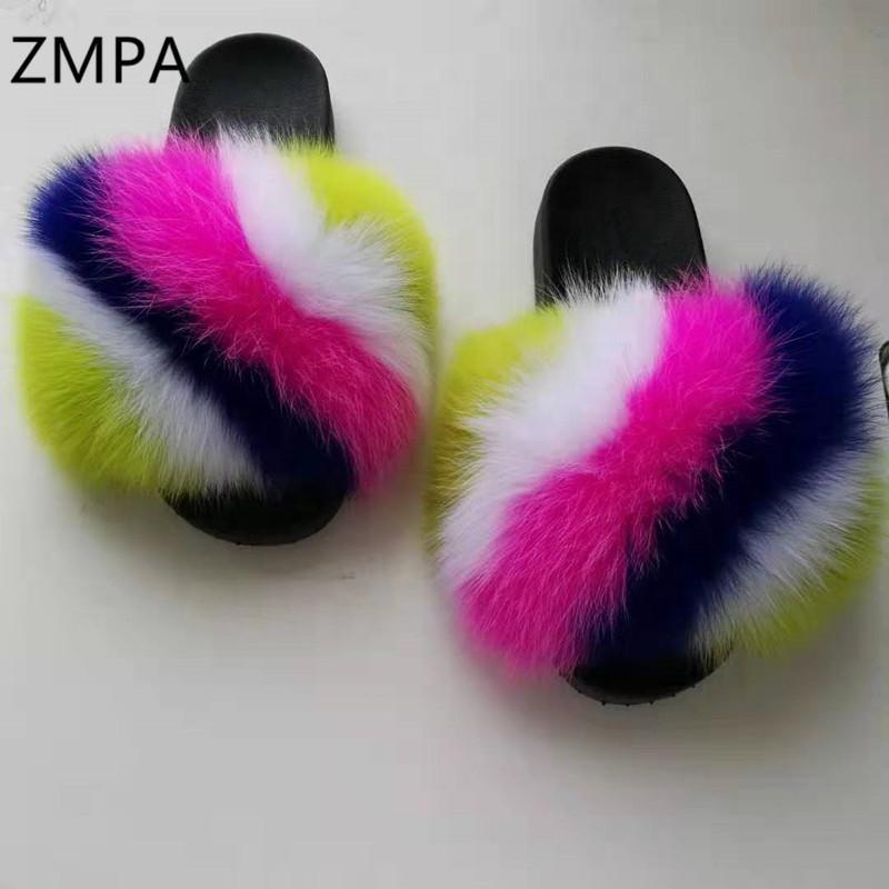 de crianças / Verão Mulheres Fluffy Slippers Mulher / crianças real Fur Slides Praia Furry Sandals Plush bonito dos falhanços Pé 19-27CM