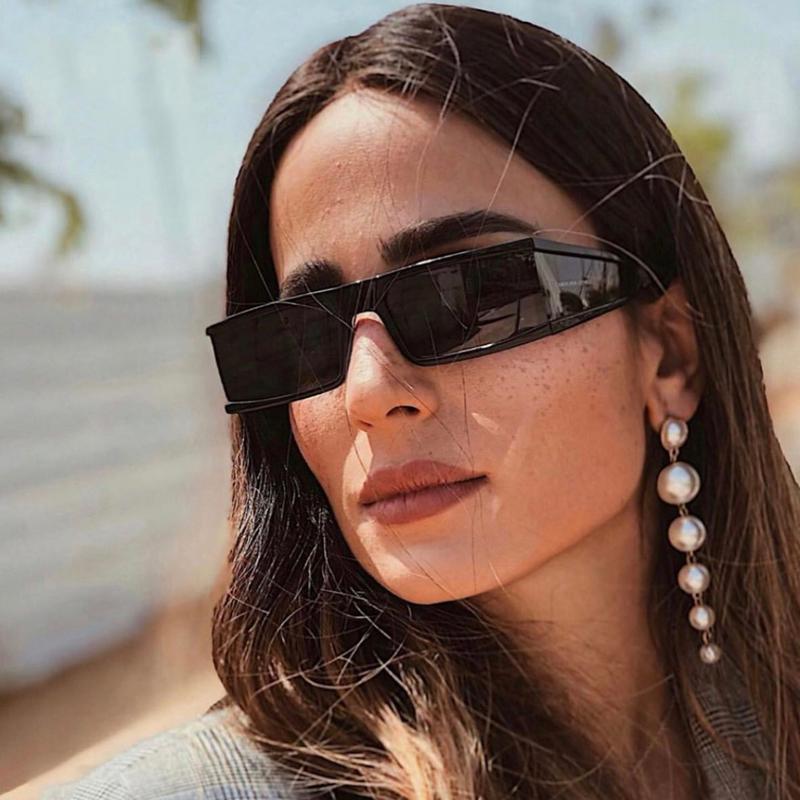 Espejo hombres plata gafas de sol claro pequeña moda 2020 negro punk lente una pieza mujer rectángulo gafas tonos UV400 icmul