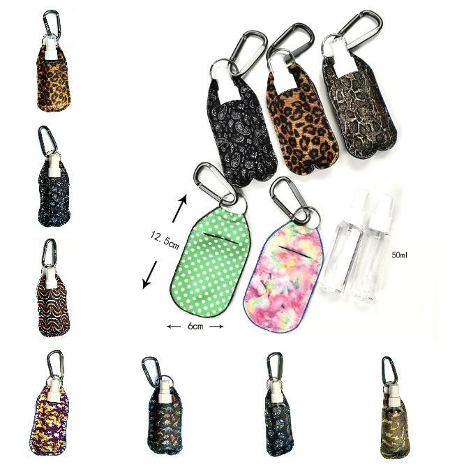 Fashion Neoprene Hand Sanitizer Bottle Holder Keychain 50ml Spray Bottle Carabiner 3 Pcs/Set Portable Alcohol disinfectant Holder Keychain