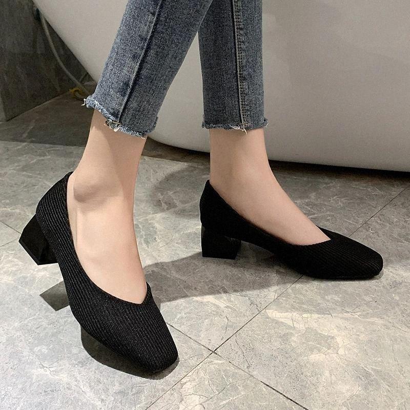 Knit High Beels Thios Salto Mulheres Estiramento Tecido Bombas Elegante Respirável Quadrado Toe Escritório Escritório de Salto Alto Sapatos Mulheres # Ey3D