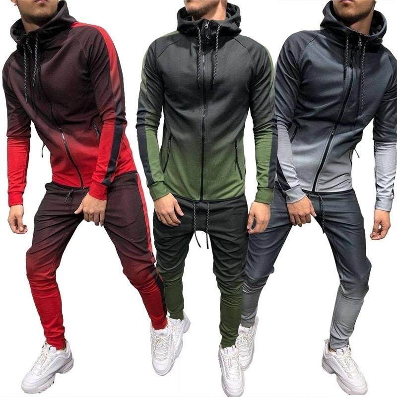 2020 Nylon homens tracksuit gradient cor esporte suor terno moletom calças calças faixas ternos masculinos homens sportswear