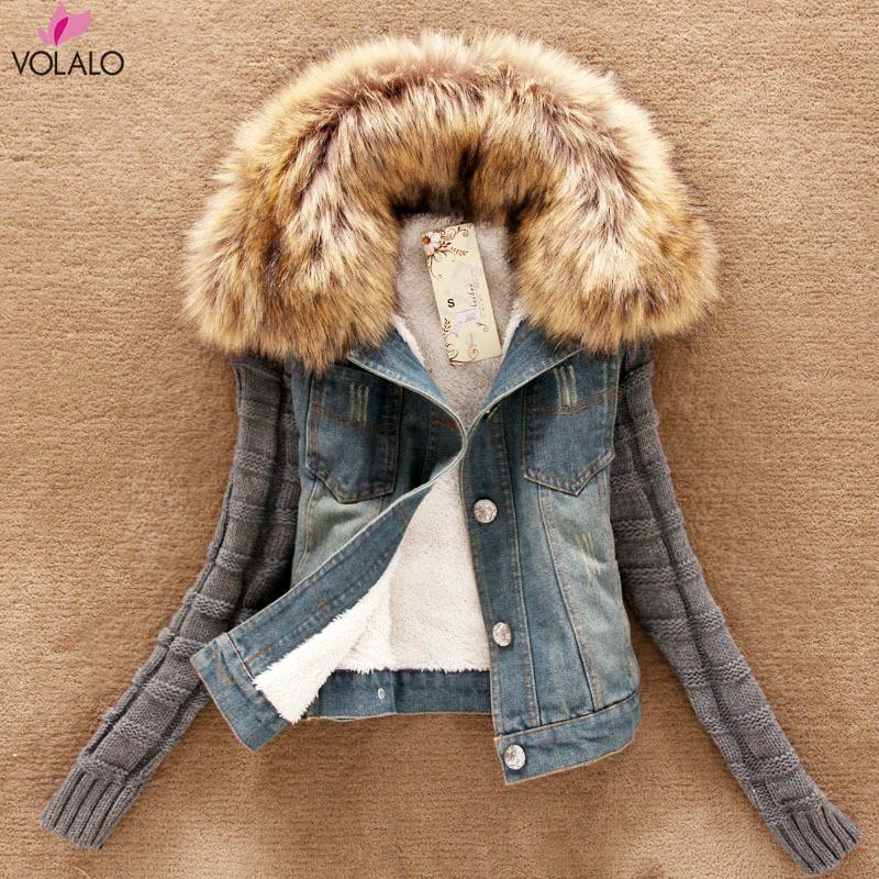Frauen Jacken Frauen Winter Dicke Jeansjacke Kunst Pelzkragen Fleece Mit Kapuze Denim Mantel Weibliche Gepolsterte Warme Outwear Drop