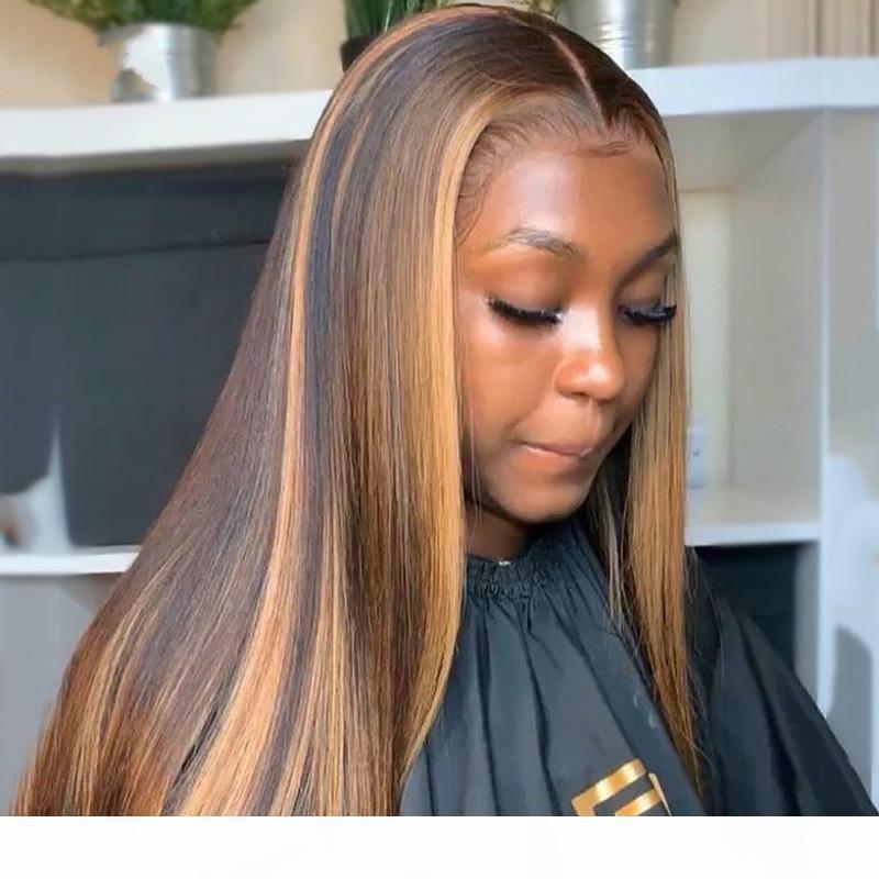 Soulignez les perruques de cheveux humains colorés Perruques de cheveux de la dentelle préalables à la dentelle Ombre Remy perruque frontale pour femmes noires