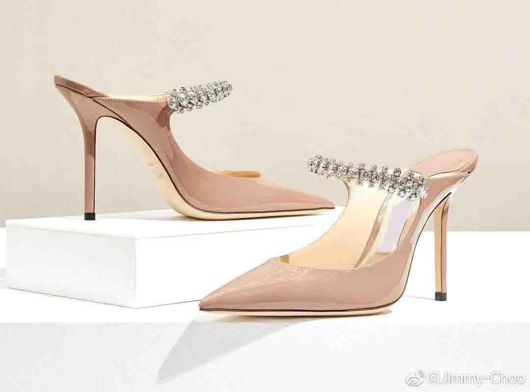 Роскошные бренды женские насосы Bing тапочка высокие каблуки хрустальные ремни шпильки каблуки сексуальные заостренные носки вечеринка свадьба EU35-43, с коробкой, EU35-43