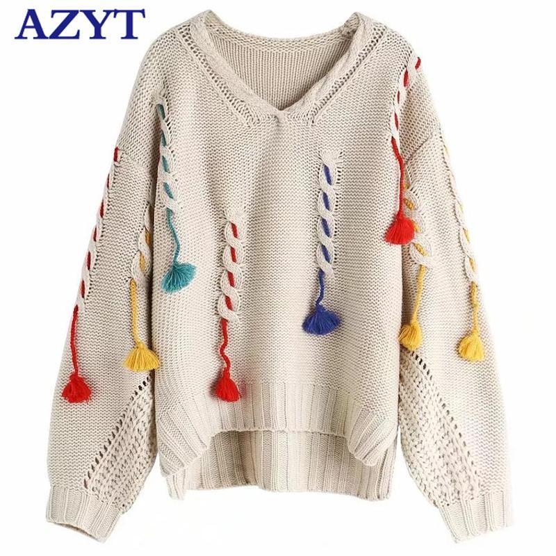 AZYT Europe Loose Tassel Pullover Sweater Autumn Winter Women's sweaters Deep V Neck Sweater Jumpers Women 201017