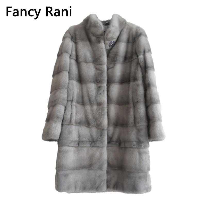 Yeni Gerçek Doğal Vizon Kürk Kadınlar Kış Uzun Vizon Kürk Kürk Ceket Ayrılabilir Kol Ayarlanabilir Giyim Uzunluk Customized201016