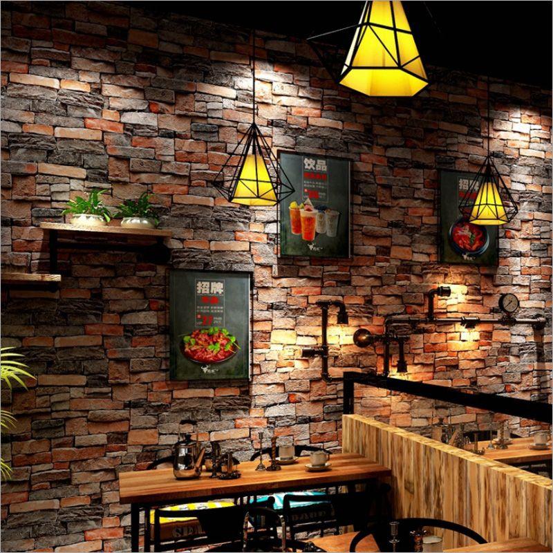 Wasserdichte Vinyl 3D Wallpaper Wohnzimmer Korridor Hauptdekoration Hintergrund Wand Papier Vintage Ziegel 3d Wandaufkleber Wand