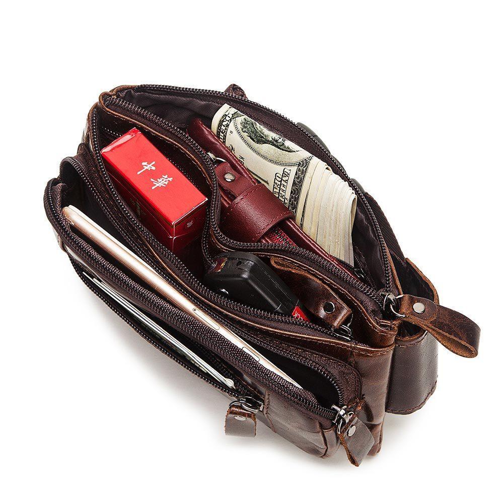 KAVIS Vintage 100% cuir véritable peau de vache Hommes Sac de taille Homme Packs boucles de ceinture de poitrine Sac Téléphone portable Porte Pouch Homme bourse 201015