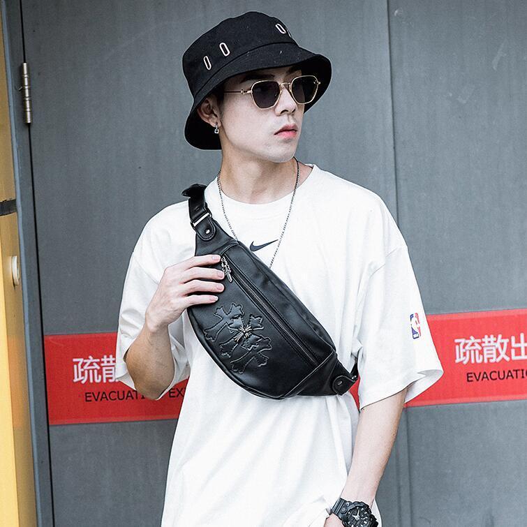 wholesale men handbag street trend rivet punk pocket new sports fitness leisure shoulder bag personalized leather fashion cycling bag