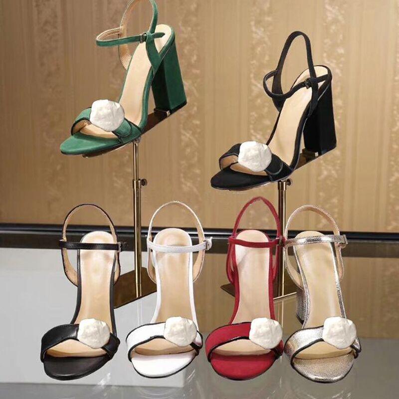 Clássico Sandálias de salto alto festa 100% mulheres de couro dança sapato designer sexy saltos 10 cm camurça senhora de metal fivela de cinto de espessura mulher sapatos tamanho grande tamanho 35-41-42 com caixa