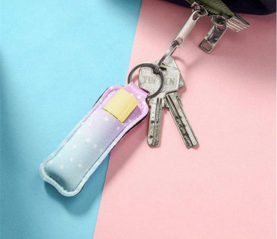 Néoprène Chapstick Holder Cas Rouge à lèvres Rouge à lèvres Porte-couverture portable marbre style RTS Keychain Porte-clefs Party Favor OOA8070 P2rD #