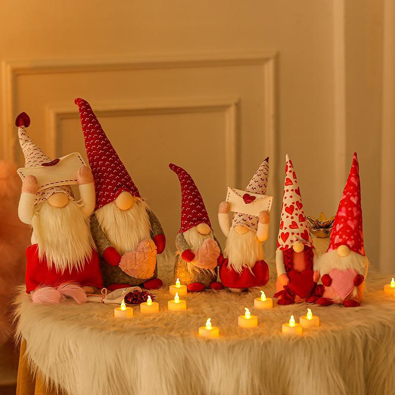 Dia dos namorados Gnome Gnome Decorações de pelúcia -MR e Mrs Handmade Scandinavian Tomte para Valentines Ornament Bady Boneca Valentines Day presentes