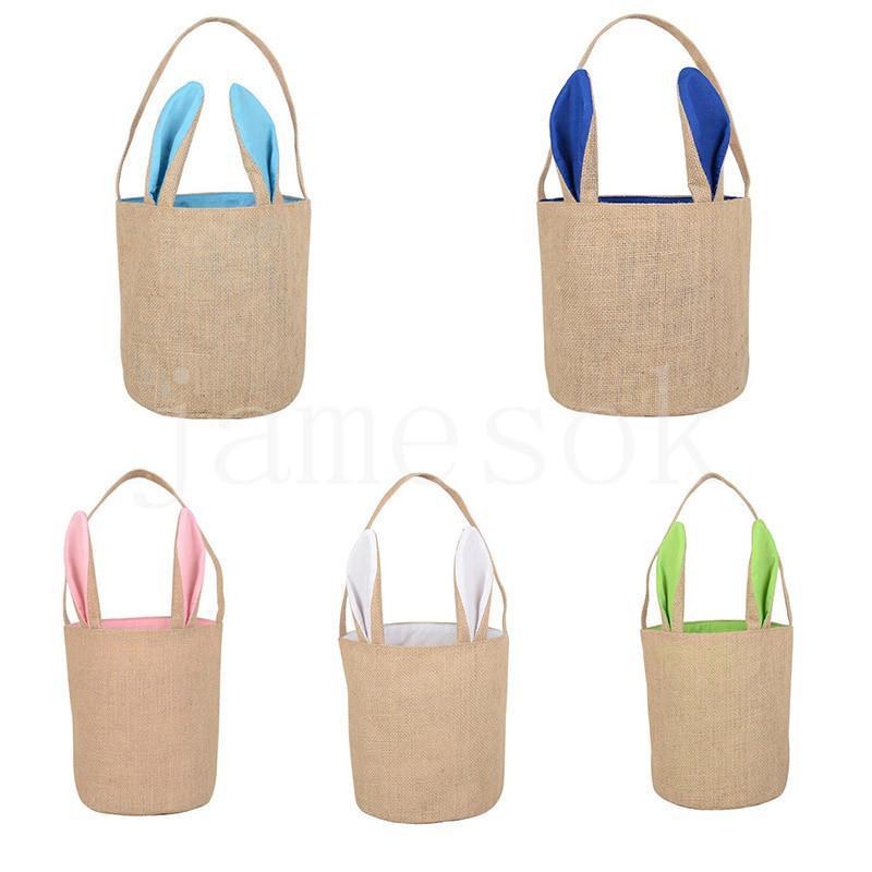 5 цветов пасхальные яйца корзины пасхальные сумки пасхальные сумки кролика холст сумка мешок яйцо конфеты корзины подарочная сумка DB452