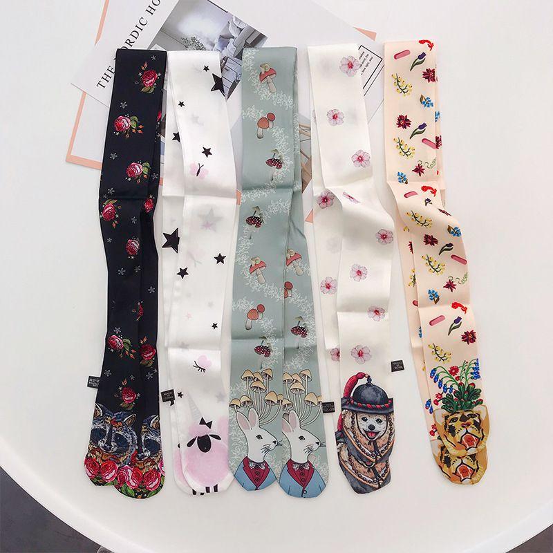 Небольшие осени женские обертывания печати животных ручка шелкография рибанд зимний шарф ленты ленты волос повязки шарфы сумки женщина новый pkdcg