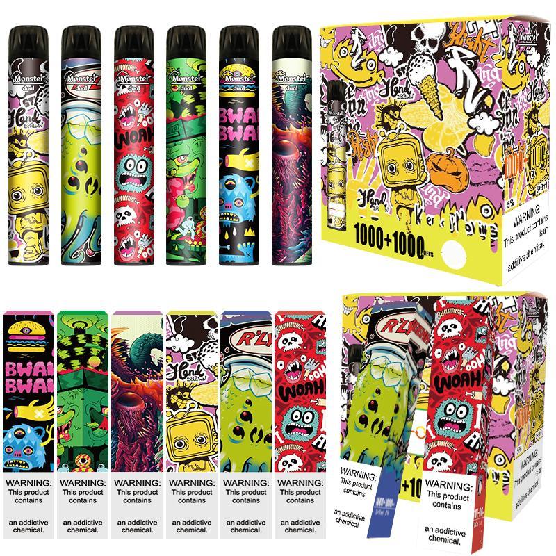 Monstruo original Vape desechable DUAL PRELILLADO 3 + 3ML POD 1000 + 1000 Puffs 2 en 1 Kit de disposición VS Bang XXL Interruptor Barra de hojaldre