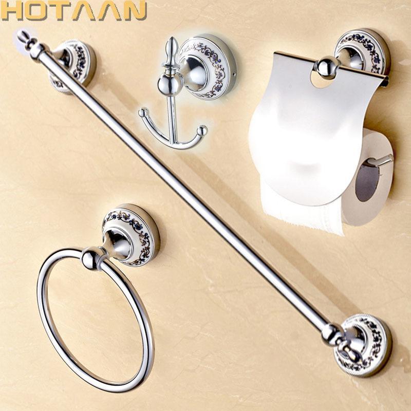 Livraison gratuite, acier inoxydable + accessoires de salle de bain en céramique, crochet robe, porte-papier, barre de serviette, bague serviette, ensembles de salle de bain, LJ201211