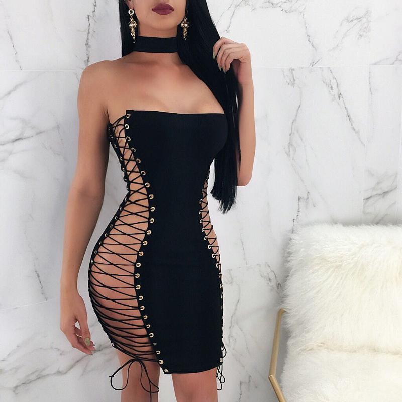 2021 kadın seksi straplez mini elbise trendy kolsuz düz renk lace up bodycon tüp elbise parti kulübü giyim oymak