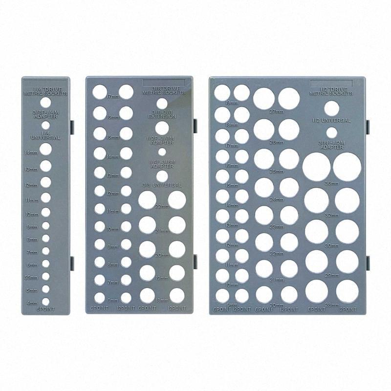 3pcs / set Portable Outils système métrique britannique de stockage Sleeve Socket Organizer Plateau rack Enregistrer Espace multifonctionnel d5p1 # Ménage
