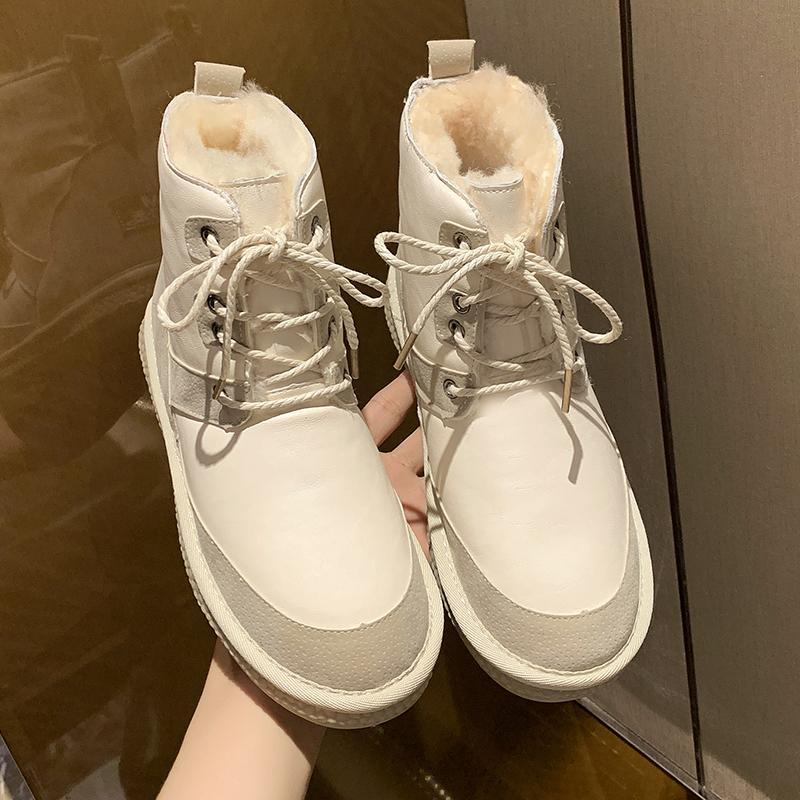 Yeni Kadın Çizmeler Kış Sıcak Kar Botları Düşük Üst Gümüş Kadın Ayak Bileği 50% Doğal Yün Lace Up Ücretsiz Kargo Satmak