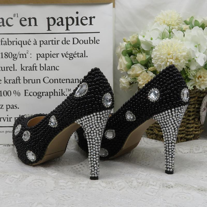 BaoYaFang zapatos Mujeres del partido perla perlas Negro novia zapatos de tacones altos vestido de las señoras mujer punta redonda de alto talón de las bombas de plata