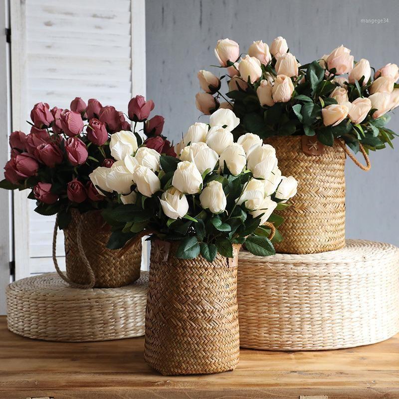 9 головок розыми букет из роз искусственные цветы шелковые цветы для украшения дома на день Святого Валентина свадебный букет украшение fake1