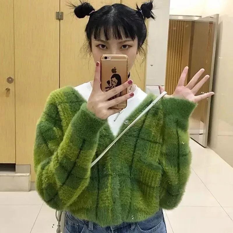 Свитера Мода Девушки Зима Авокадо вязать свитер Женщины Вязаные кардиганы плед хлопок